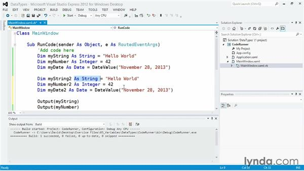 Working with data types: Visual Basic Essential Training