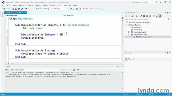 Working with numbers and Boolean values: Visual Basic Essential Training