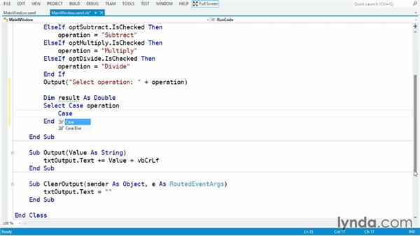 Using the Select...Case statement: Visual Basic Essential Training