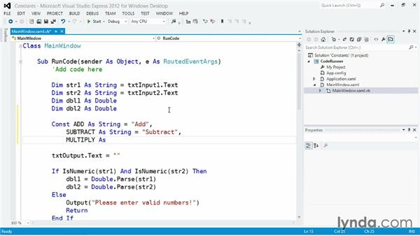 Reusing values with constants: Visual Basic Essential Training