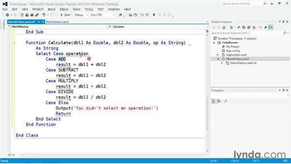 Creating reusable code with Sub and Function procedures: Visual Basic Essential Training