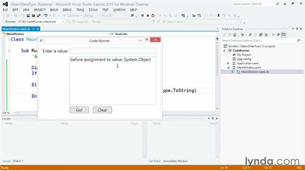 Using the Object data type: Visual Basic Essential Training