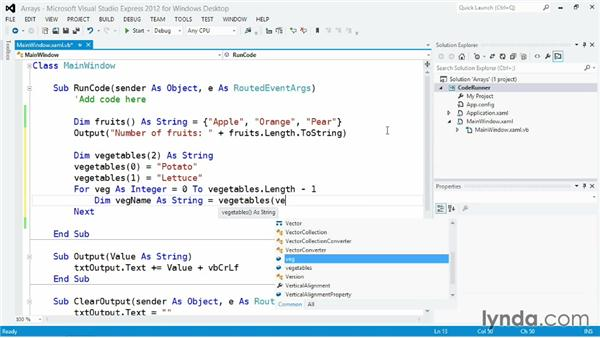 Managing ordered data with arrays: Visual Basic Essential Training