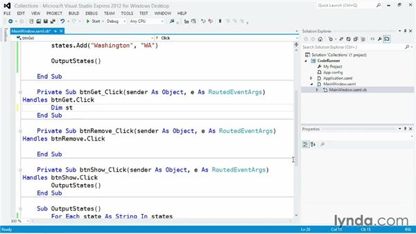 Managing unordered data with Collection: Visual Basic Essential Training