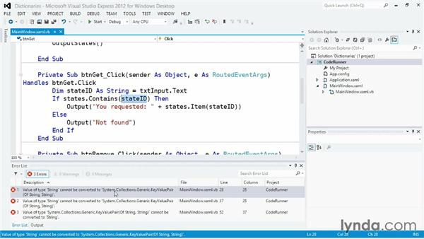 Managing statically typed data with Dictionary: Visual Basic Essential Training