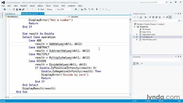 Defining a custom class with shared procedures: Visual Basic Essential Training