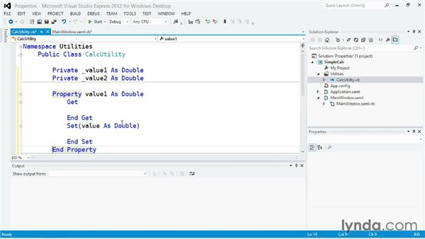 Using properties with getter and setter methods: Visual Basic Essential Training