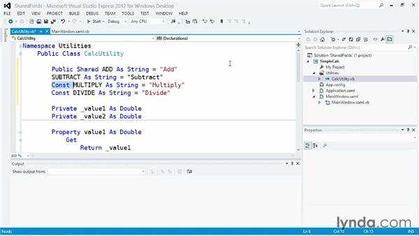 Defining shared values as class fields: Visual Basic Essential Training