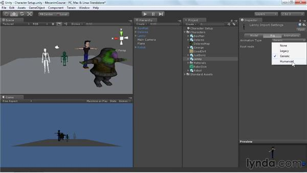 Preparing for character configuration: Animating Characters with Mecanim in Unity 3D