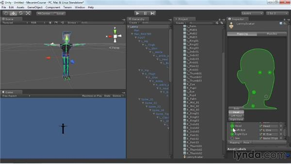 Mapping bones to configure a character: Animating Characters with Mecanim in Unity 3D