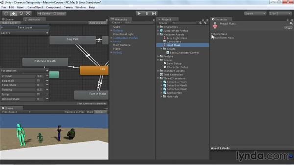 Creating layer masks: Animating Characters with Mecanim in Unity 3D