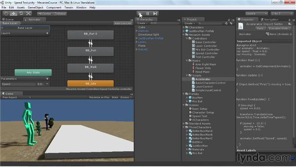 Controlling states with speed: Animating Characters with Mecanim in Unity 3D