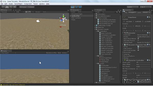 Setting up a character for the game environment: Animating Characters with Mecanim in Unity 3D