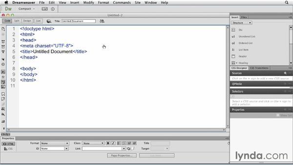 The Welcome screen: Dreamweaver CC Essential Training