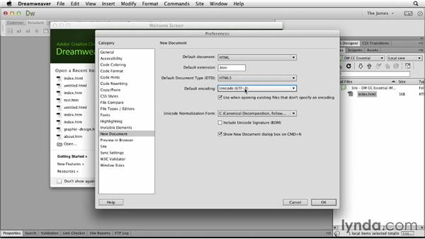 New document preferences: Dreamweaver CC Essential Training