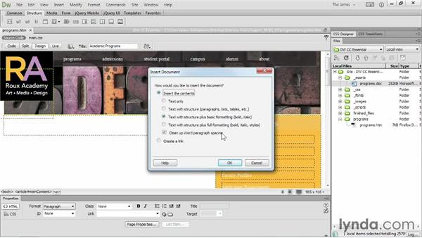 Importing Word documents: Dreamweaver CC Essential Training