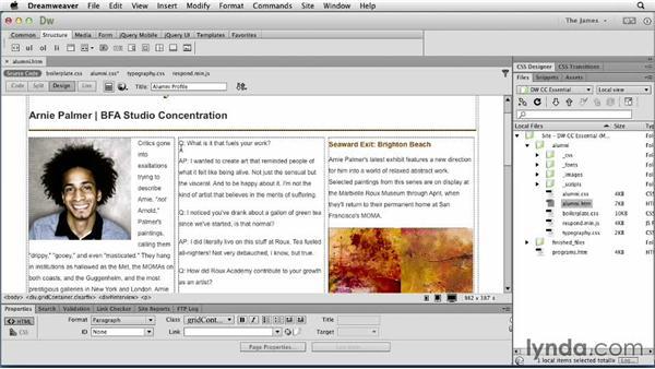 Creating definition lists: Dreamweaver CC Essential Training