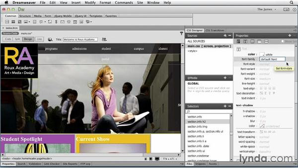 Styling type properties: Dreamweaver CC Essential Training