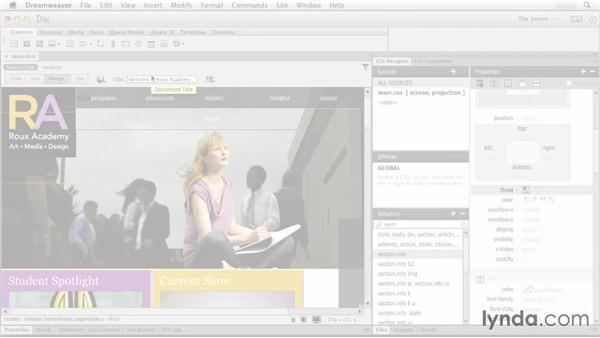 Styling basic layout properties: Dreamweaver CC Essential Training