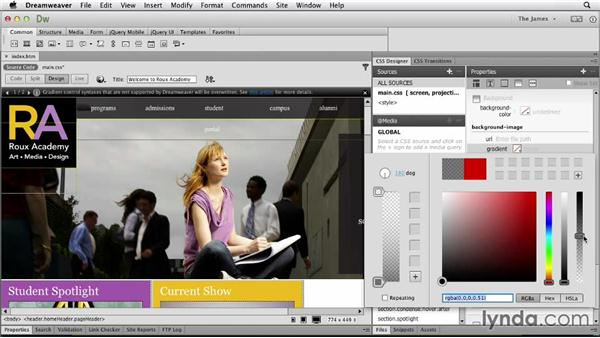 Styling background properties: Dreamweaver CC Essential Training
