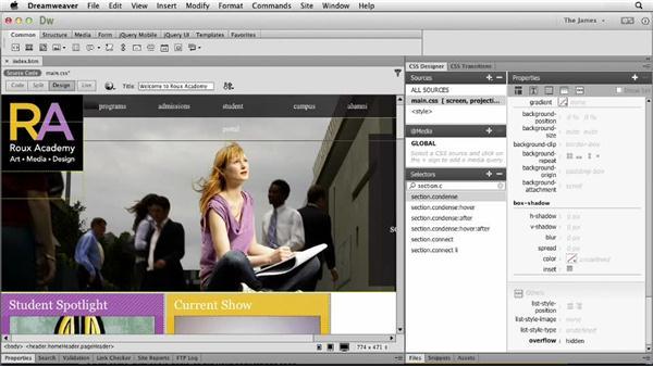 Styling additional properties: Dreamweaver CC Essential Training