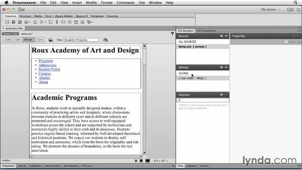 Attaching an external style sheet: Dreamweaver CC Essential Training