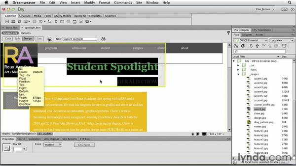 Placing images on the page: Dreamweaver CC Essential Training
