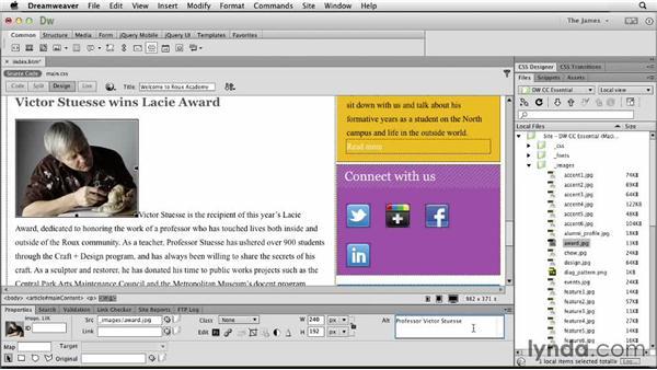 Controlling image properties: Dreamweaver CC Essential Training