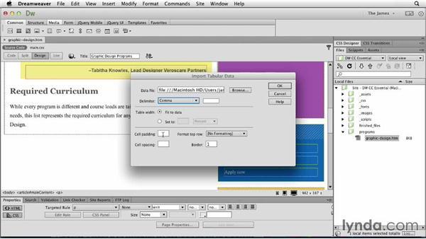 Importing tabular data: Dreamweaver CC Essential Training