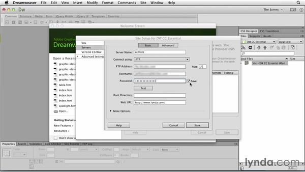 Adding remote servers: Dreamweaver CC Essential Training