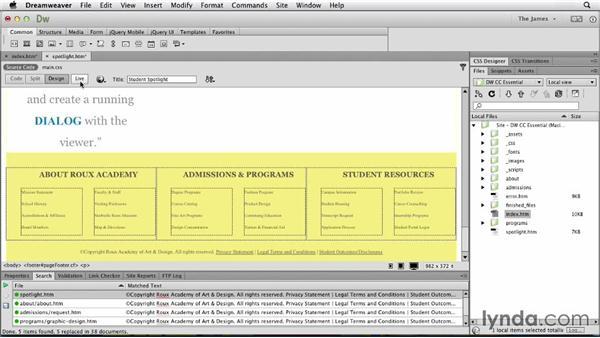 Updating files site-wide: Dreamweaver CC Essential Training