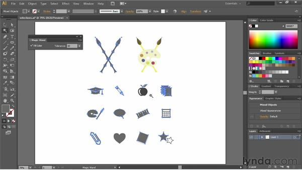 Using the Magic Wand tool: Illustrator CC Essential Training (2013)