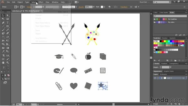 Selecting objects by attribute: Illustrator CC Essential Training (2013)