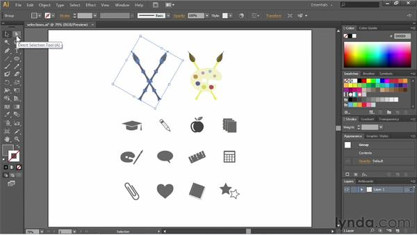 Grouping objects: Illustrator CC Essential Training (2013)