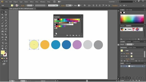Using the swatch groups: Illustrator CC Essential Training (2013)