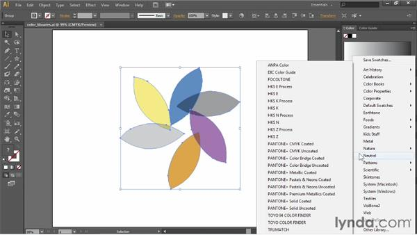 Working with color libraries: Illustrator CC Essential Training (2013)