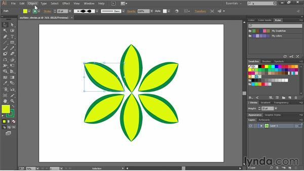 Outlining strokes: Illustrator CC Essential Training (2013)