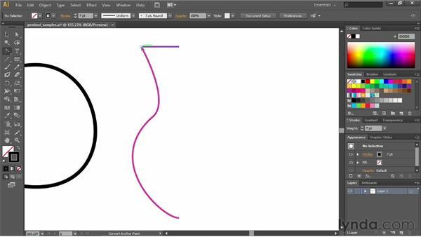 Converting corners and curves: Illustrator CC Essential Training (2013)