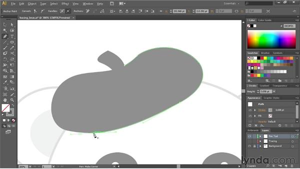 Tracing artwork with the Pen tool: Illustrator CC Essential Training (2013)