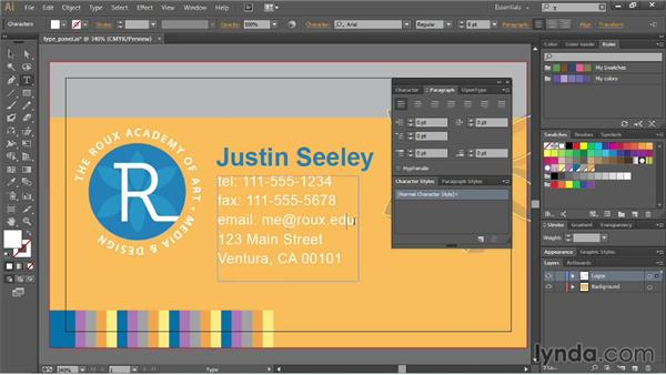 Using the type panels: Illustrator CC Essential Training (2013)