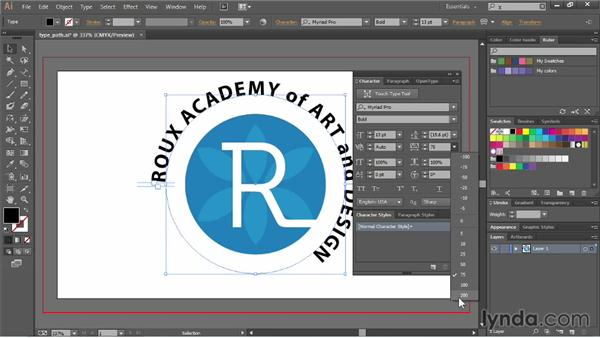 Creating text on a path: Illustrator CC Essential Training (2013)