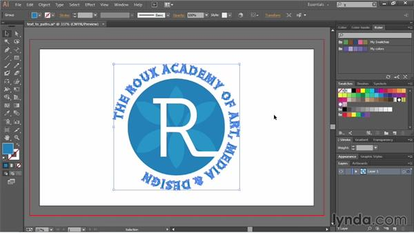 Converting text into paths: Illustrator CC Essential Training (2013)