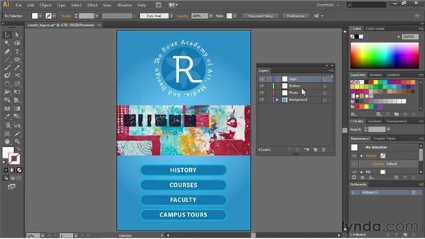 Creating and editing layers: Illustrator CC Essential Training (2013)