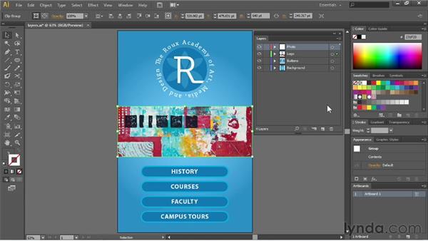 Using the Layers panel menu: Illustrator CC Essential Training (2013)