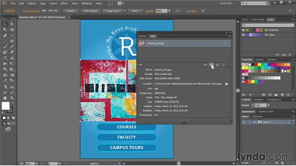 Working with the Links panel: Illustrator CC Essential Training (2013)
