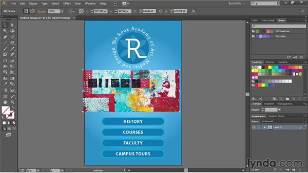 Cropping images with a mask: Illustrator CC Essential Training (2013)