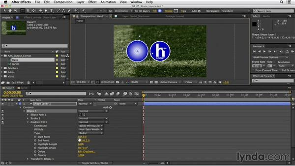 Creating design elements with shape layers: After Effects CC Essential Training