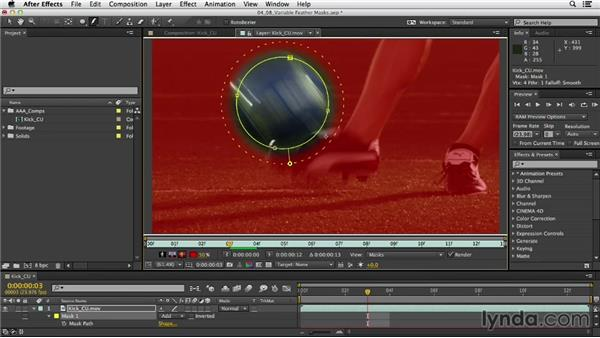 Precise compositing with variable-width feathered masks: After Effects CC Essential Training