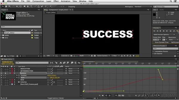 Adjusting keyframes in the Graph Editor: After Effects CC Essential Training