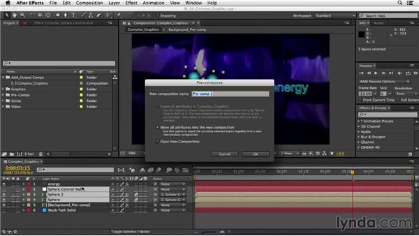 Building complex graphics with Pre-compose: After Effects CC Essential Training